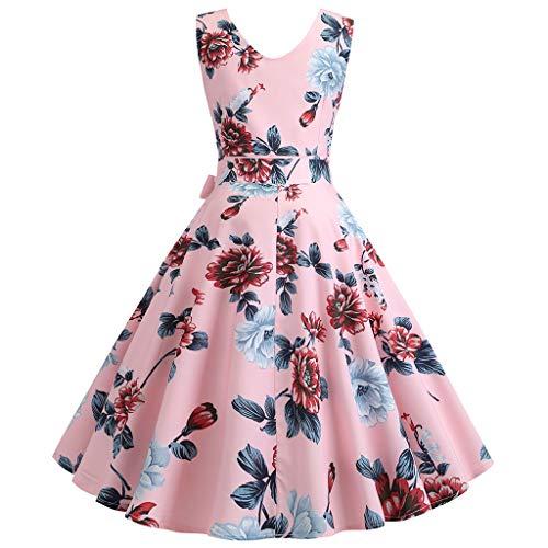 Lialbert Vintage Blumenmuster Dame Rockabilly 1950er Petticoat Rundhals V-Ausschnitt äRmelloses Retro GüRtel TaillengüRtel Swing Blumendruck Skaterkleid Ballkleid Elegant Rosa