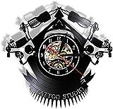 Reloj de Pared de Vinilo Reloj de Pared con Registro de Vinilo de Tatuaje Vintage Reloj de Vinilo Personalizado Tienda de Tatuajes-No_Led-con Led