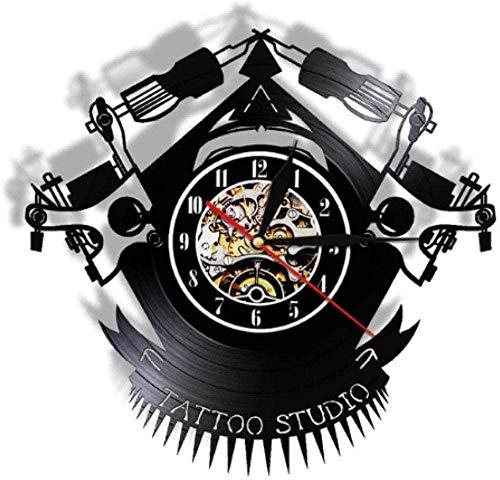 Reloj de Pared de Vinilo Reloj de Pared con Registro de Vinilo de Tatuaje Vintage Reloj de Vinilo Personalizado para Tienda de Tatuajes-No_Led-No Led