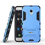 Heartly Graphic Kickstand Hard Dual Rugged Armor Hybrid Bumper Back Case Cover for Meizu M3s - Power Blue
