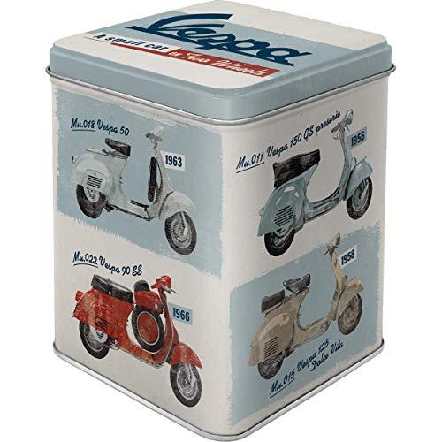 Nostalgic-Art Retro Teedose Vespa – Model Chart – Geschenk-Idee für Roller-Fans, Aufbewahrung für losen Tee und Teebeutel, Vintage Design, 100g