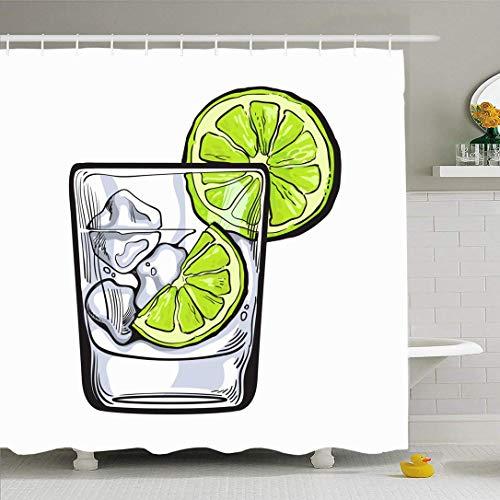 Ensemble de rideau de douche avec crochets plaisir boisson en verre Gin Vodka couleur brune soda alcool alcoolisme glace nourriture boisson objets Pub sur tissu polyester imperméable décor de bain pou