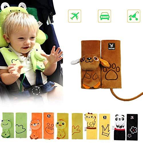 DQTYE Suave de dibujos animados bebé niño animal arnés de cinturón de seguridad de coche cubierta de seguridad almohadilla de hombro cojín de protección para bebé