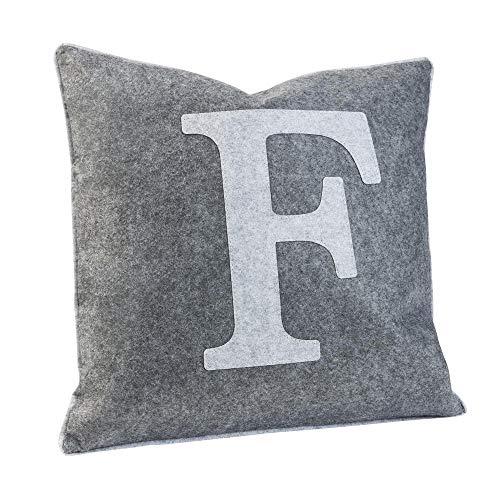 Luxdag - Funda de cojín de fieltro con letra F gris claro (letra del libro a elegir) | máx. 40 x 40 cm, cojín para silla, cojín decorativo, con cremallera