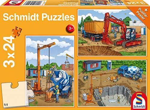 Schmidt Spiele Puzzle 56200, orange, Auf der Baustelle, 3x24 Teile