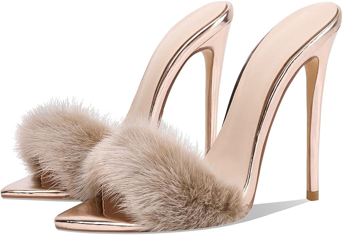 売れ筋ランキング Women's Fur Stilettos 新登場 Sandals Heels High