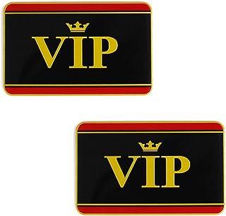 DSYCAR 2 Piezas Oro VIP 3D Etiqueta engomada del Emblema de la Etiqueta engomada del Coche de Metal calcoman/ías para Universal Car Styling