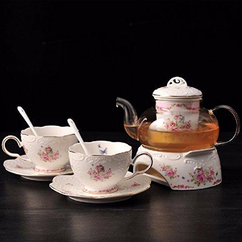 Porzellan Teeservice mit Stövchen im Landhausstil für 4 Personen - Pink - Tasse / Untertasse / Glaskanne / Sieb / Löffel / Stövchen