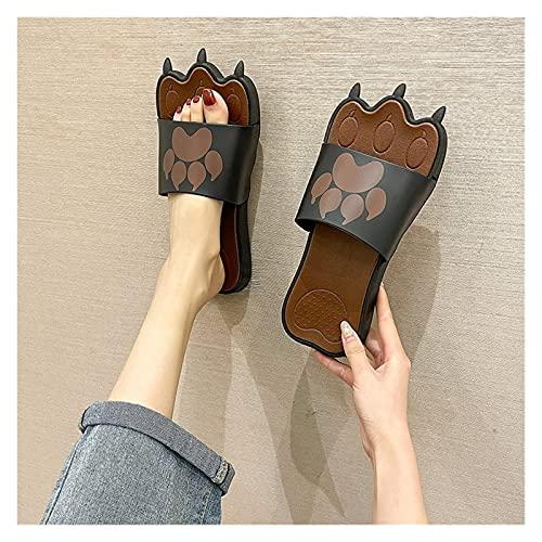 Youpin Zapatillas para mujer, de gran tamaño, divertidas, creatividad, interesantes, con garras de animales, cómodos, antideslizantes, zapatos planos (color: marrón oscuro, talla de zapato: 7)