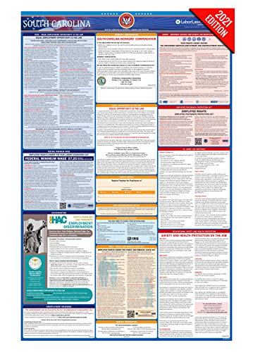 SC Labor Law Poster, 2021 Edition - State, Federal and OSHA Compliant Laminated Poster (South Carolina, English)