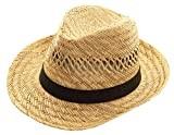 Sombrero de Paja Varadero Sombrero Natural Sombreros de Paja de Verano Sombrero Habana Sombrero Unisex Bogart Fedora (58)