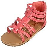 bebe Toddler Girls' Sandals – Leatherette Strapped Gladiator Sandals with Heel Zipper (Toddler) (6 M US Toddler, Coral/Gold)