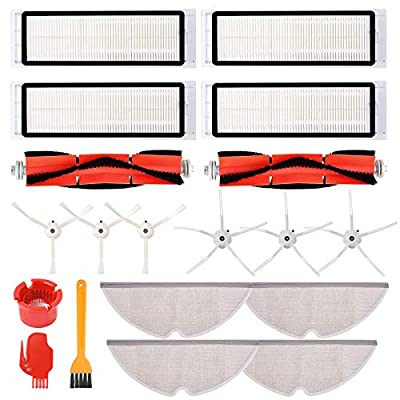 Mochenli 16 Pack Accessories Kit for Roborock S4 S5 S5 Max S6 S6 Max E4 E20 E25 E35 S50 Xiaomi Mi Mijia Robotic Vacuum Cleaner, Replacement Parts, 2 Main Brush 4 Hepa Filter 6 Side Brush 4 Mop Cloth