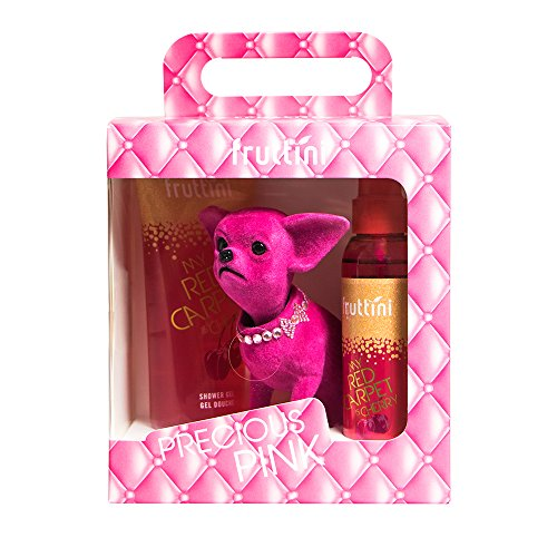 fruttini Geschenkset Precious Pink GLAMOROUS - Cherry Shower Gel 200ml & Bodyspray 150ml + süßer Wackel-Chihuahua, vegan, 1er Pack (1 x 1 Set)
