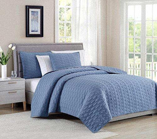 Bourina Reversible Bedspread Coverlet Set - Microfiber Lightweight Comforter 3-Piece Quilt Set King, Chambray