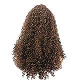amuster Afro de peluca de pelo largo ondulado Negro Marrón Mujeres WoodBurner sintéticos lockig pelucas peluca, 65cm, marrón, 1