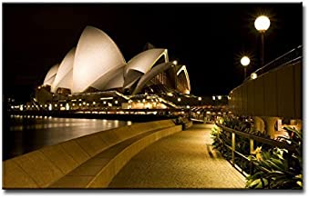 Alva443Anne Wall Art Painting Sydney Opera House Pictures Print On Canvas Giclee Wooden Framed 12X16 Inch