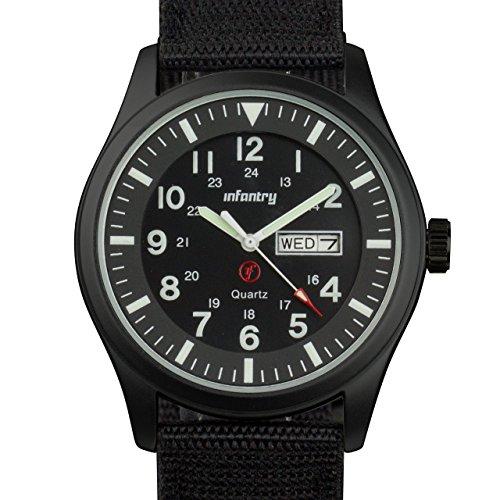 Infantry Herrenuhr Armbanduhr Männer Uhren Militär Uhr Herren Schwarz Männeruhr Wasserdicht Herrenarmbanduhr Outdoor Nylonband