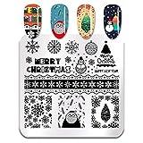 Placas de estampado de uñas de Navidad Patrón de Papá Noel de nieve Plantilla de sello de arte de uñas cuadrado Plantillas de uñas de año nuevo