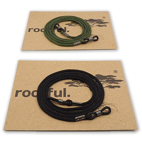 rootful.® URBAN CLASSIC Brillenband 2er Pack (schwarz & grün) für Sonnenbrille und Lesebrille - Brillenkette - Brillenkordel (1XSCHWARZ & 1XGRÜN)