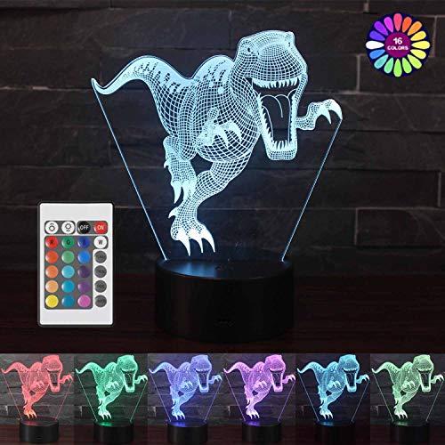 Vaupan Luz nocturna de dinosaurio 3D para niños, lámpara de ilusión 3D, 16 colores que cambian de decoración con mando a distancia para sala de estar, cama, bar, regalo juguetes para niños y niñas