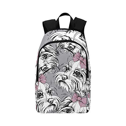 WSNWCY Best Bookbag Fluffy Small Puppy Maltese Cartoon Durable Water Resistant Classic Mens Laptop Bookbag Picnic Backpack Medium Bookbag College Travel Bags