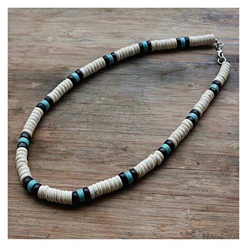 Surfer Collar Hecho de, White, Black Perlas Azules y for los Hombres joyería Tribal
