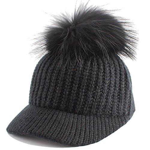 Kuyou Damen Winter Strickmütze Kappen Fellbommel Pompon Mütze mit Schirm (Schwarz)