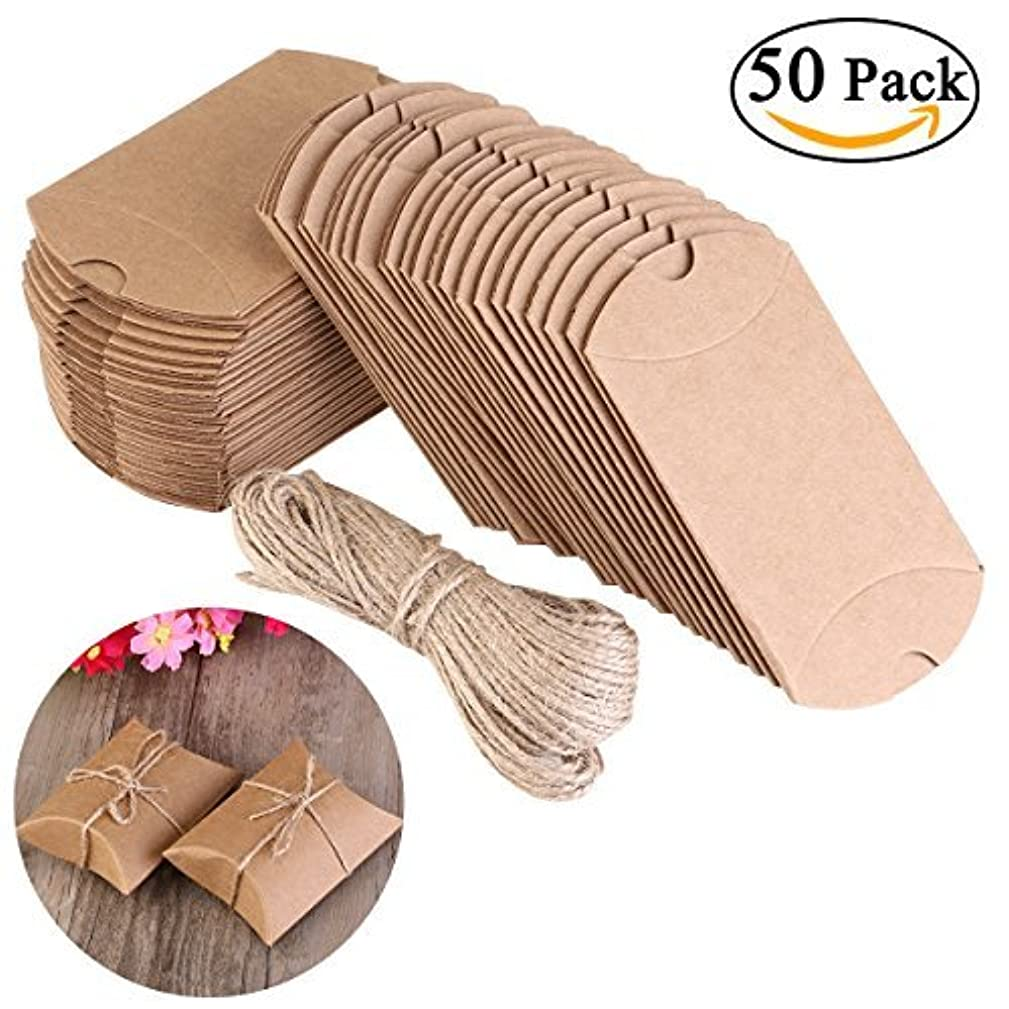 NUOLUX Pillow Box,Kraft Boxes,Kraft Paper Gift Box Candy Box with Rope(2.7x2 Inch)