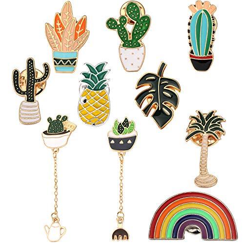WILLBOND 10 Stücke Süß Emaille Broschen Sets Einschließlich Ananas Broschen Regenbogen Broschen Tropisch Palme Simulation Blätter Broschen Kaktus Broschen für Kleidung Taschen Rucksäcke Jacken Hut