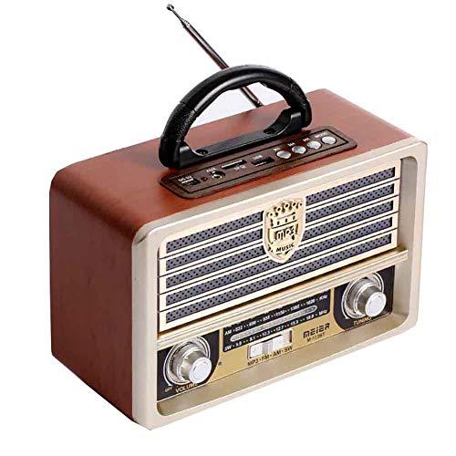Radio Retro De Madera, Radio Am SW FM, Altavoz Inalámbrico Bluetooth 4.0,...