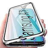 Funda para Samsung A71, Adsorción Magnética Carcasa 360 Grados Protección Caso Anti Choque Metal Flip Cover, E-Lush Funda Transparente Vidrio Templado Case Cover para Samsung Galaxy A71, Plata