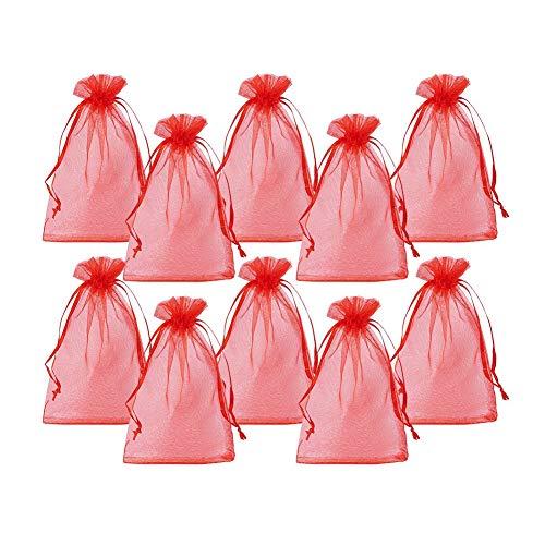 PandaHall 100PCS Sacchetti Regalo Organza Pacchetti Saccgetti Portaconfetti per Gioielli Perline Sacchetti Organza per Fiesta Matrimonio bomboniere Rosso, Circa 10cm di Larghezza, 15cm di Lunghezza
