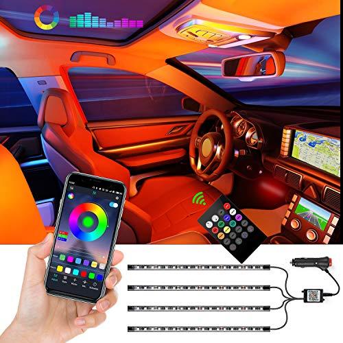 Auto-Innenbeleuchtung LED Strips, 72 LEDs APP-gesteuert, Beleuchtungsset mehrfarbig, Sync mit Musik, DIY indirekte Beleuchtung im Auto-Innenraum mit Kfz-Ladegerät oder Partybeleuchtung innen