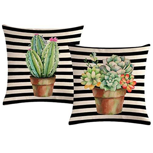 ULOVE LOVE YOURSELF - Fundas de almohada con diseño de plantas tropicales y cactus con rayas negras para casa de granja, cuadradas, 45,7 x 45,7 cm, 2 unidades