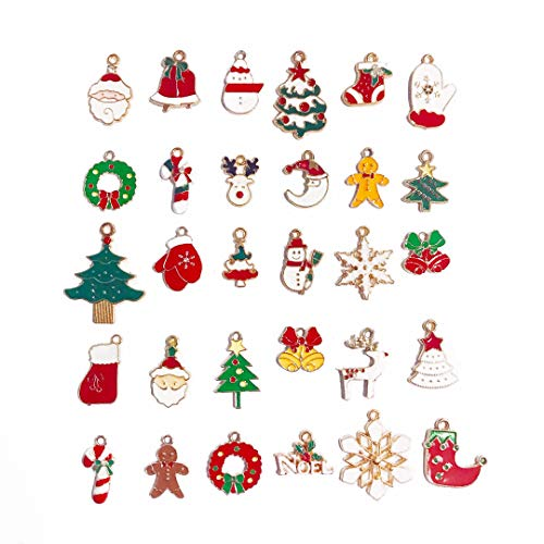 Stiesy 30 Pieces Christmas Theme Enamel Charms for Jewelry Making LightGold Plated Alloy Pendants Bulks Bracelet Making Accessories