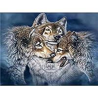 ダイヤモンド絵画、大人のための5D Diyダイヤモンド絵画キット、動物のフルドリルラウンドダイヤモンド絵画セット、3つのオオカミパターン、フレームなし40X50 Cm