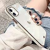 ZTOFERA Hülle für iPhone 11, Transparent Weich Hülle mit Goldener Rahmen, Schlank klar Anti-Kratzer Schutzhülle für iPhone 11 (6.1