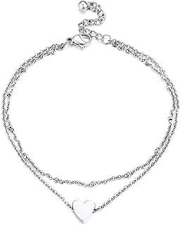 PROSTEEL Tobillera de Mujer Brazalete de Tobillo de Cadena Simple para Unisex, 20-23cm de Longitud y 5cm de Extensión, Clá...