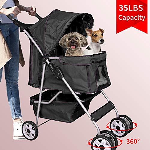 Dog Stroller Pet Stroller Cat Stroller 4 Wheels Pet Jogger Stroller 35lbs Capacity Travel Lite...