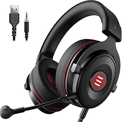 EKSA E900 Pro USB Gaming Headset für PC - PS4 Headphones mit Noise Cancelling Mic, 7.1 Surro& So& - 3.5 mm Gamer Kopfhörer mit Mikrofon für Xbox, PS4, PS5, Laptop, Switch, Mac, Handy (Schwarz)