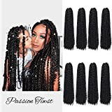 8 Packs Passion Twist Hair 18 Inch Water Wave Crochet Hair for Black Women Long Bohemian Crochet Braids Passion Twist Crochet Braiding Hair Extensions (18 Inch, 1B)