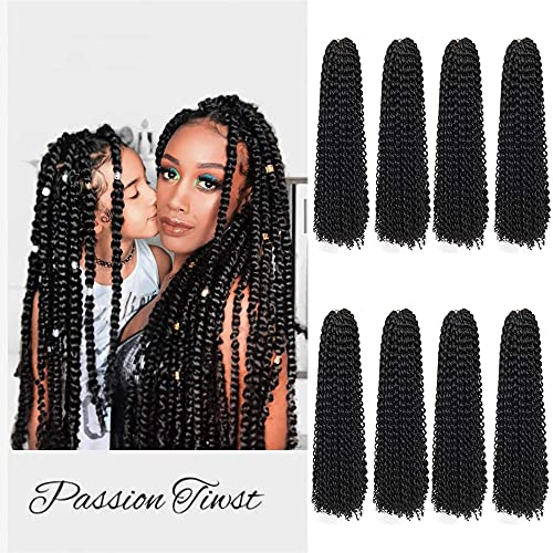 8 Packs Passion Twist Hair 18 Inch Freetress Water Wave Crochet Hair for Black Women Long Bohemian Crochet Braids Passion Twist Crochet Braiding Hair Extensions (18 Inch, 1B)
