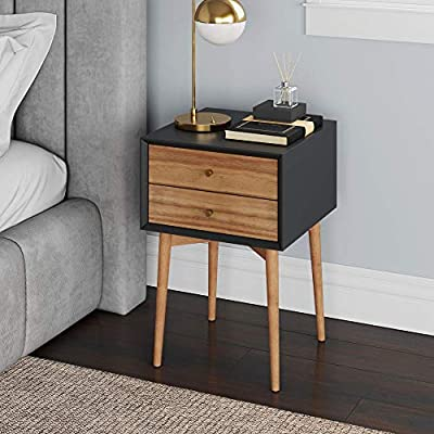 Nathan James Harper Mid-Century Side Table, 2-Drawer Wood Nightstand, Black/Brown