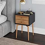 Nathan James Harper Mid-Century Side Table, 2-Drawer Wood Nightstand,...