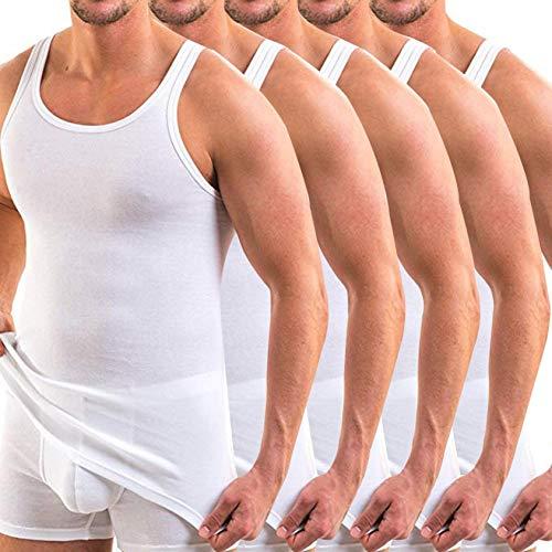 5 pcs Camiseta de Tirantes Manga Corta para Hombre,Chaleco sin Mangas de Blanco Clásico,Sudor Suave Algodon,para Fiesta Vida Cotidiana Gym Tirantes (3XL)