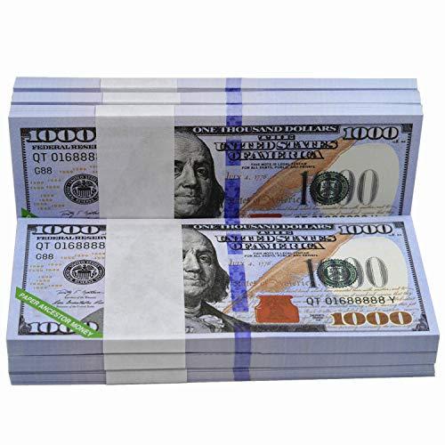 500 Pieces 1000 Dollar Bill USA Ancestor Money - US Chinese Joss Money-1000 Bill Prop Money- Ancestor Money to Burn -Hell Bank Notes- Gun Shooter Money (500PCS)