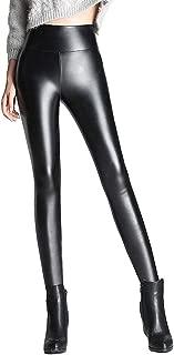 LINGMIN Women's Stirrupped Fleeced Faux Leather Pants PU Slim Fit Pant