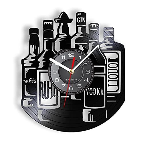 ROMK Reloj de Pared Moderno Reloj de Pared Decorativo de Licor Whisky Vodka Gin Botella de Vino Silueta Reloj de Pared con retroiluminación LED Decoración Colgante silenciosa para Bar