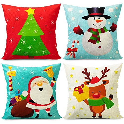 Cute Christmas Pillow Covers 18 x 18 inches Christmas Decorative Pillow Covers Christmas Cartoon Pillow Covers Holiday Cushion Covers Christmas Throw Pillow Covers Snowman Reindeer Santa Tree